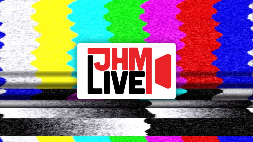 JHM Live graphic showing colorful video static in the background